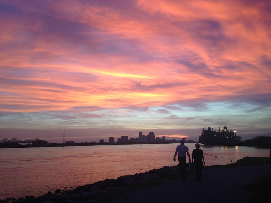 Strolling on the Levee at sunset