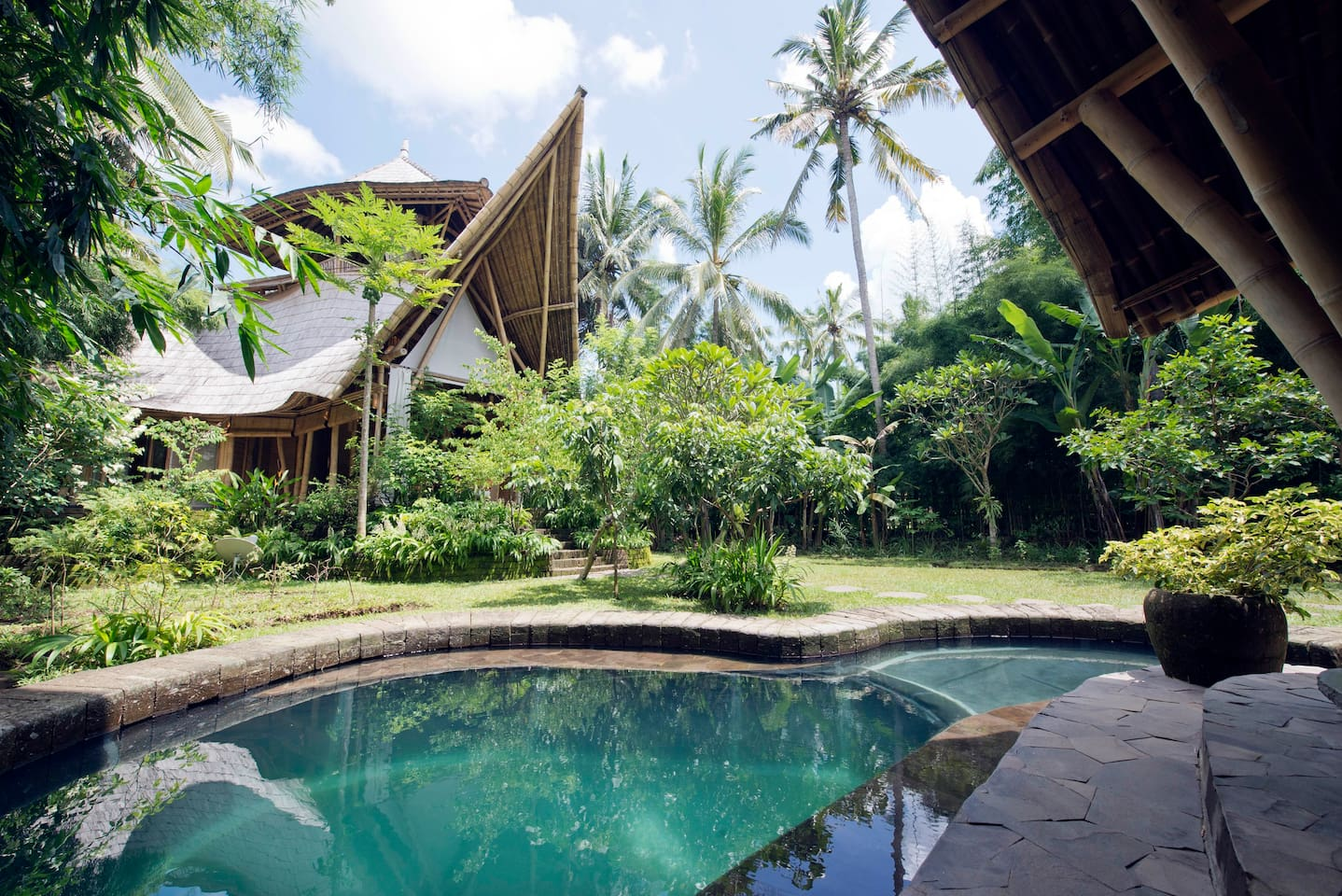 Bamboo 3 storey house surrounded by nature, and organic gardens with pool