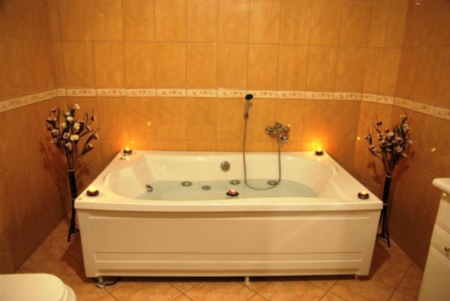 Great bathroom with Hydro-massage bathtub and hydro-massage shower cabin with steam