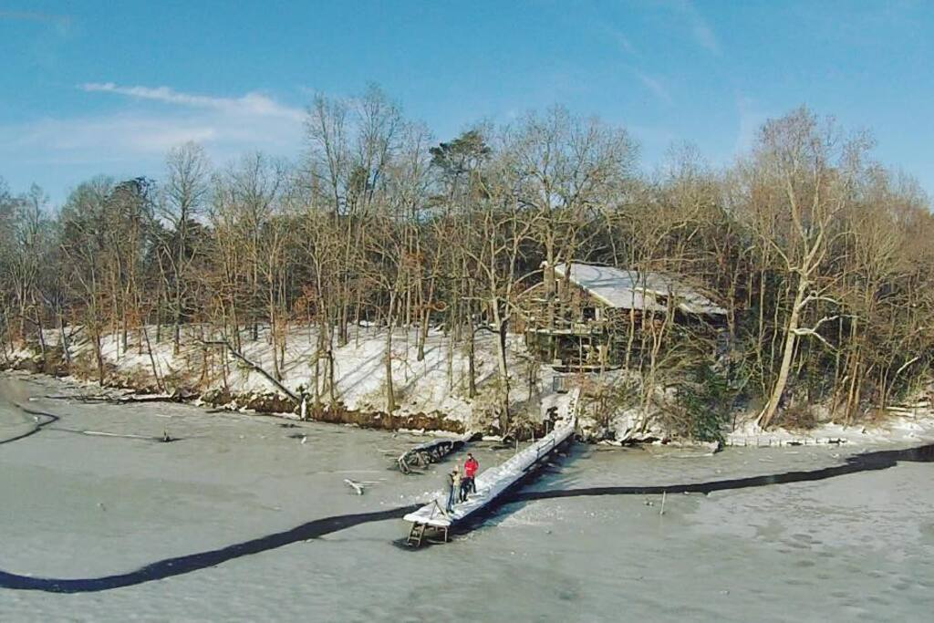 Drone view of River House at Moot Point Farm from drone -frozen Choptank River 1-25-16
