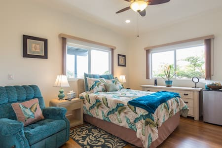 One of three private bedrooms @ Tutu's Tranquil Nest.  Bright, roomy bedroom with queen bed decorated in a balmy tropical theme.  Large dresser, TV, recliner, double closets are included in this space. Private key lock.  Taxes included in fee.