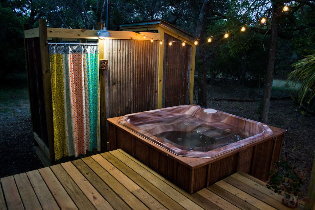 Mood lighting for an evening dip in the hot tub