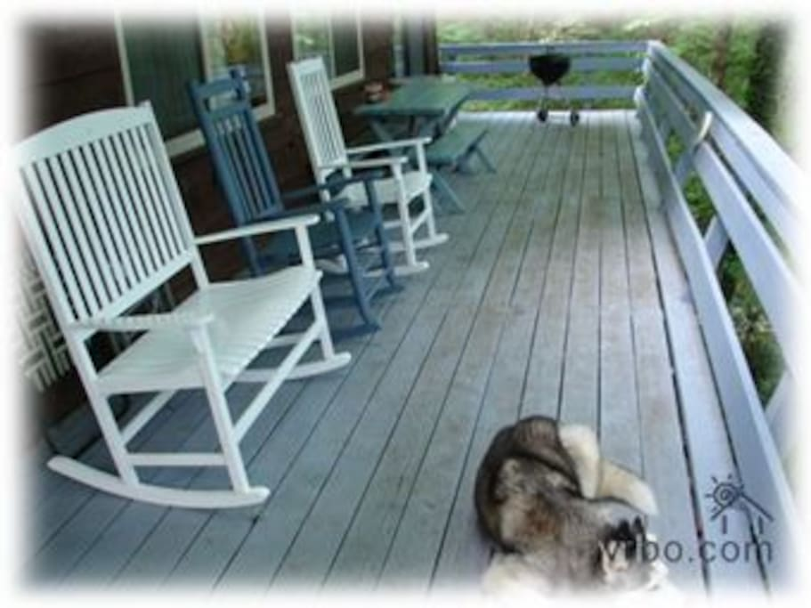 Relax on the porch, just like our dog