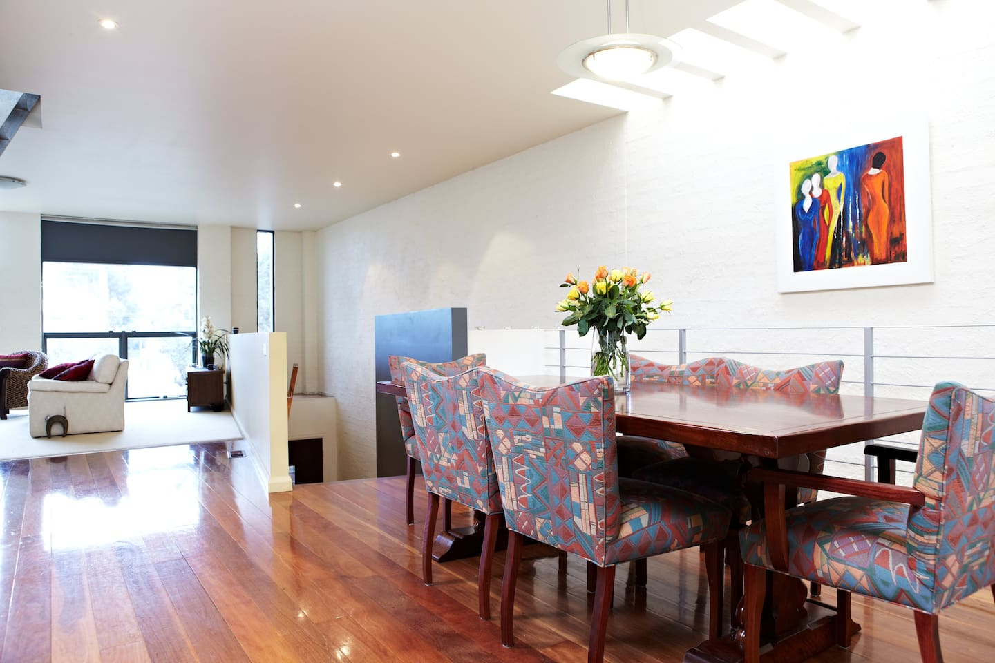 Large spacious living rooms are on the first floor in this upside down house with bedrooms on ground floor
