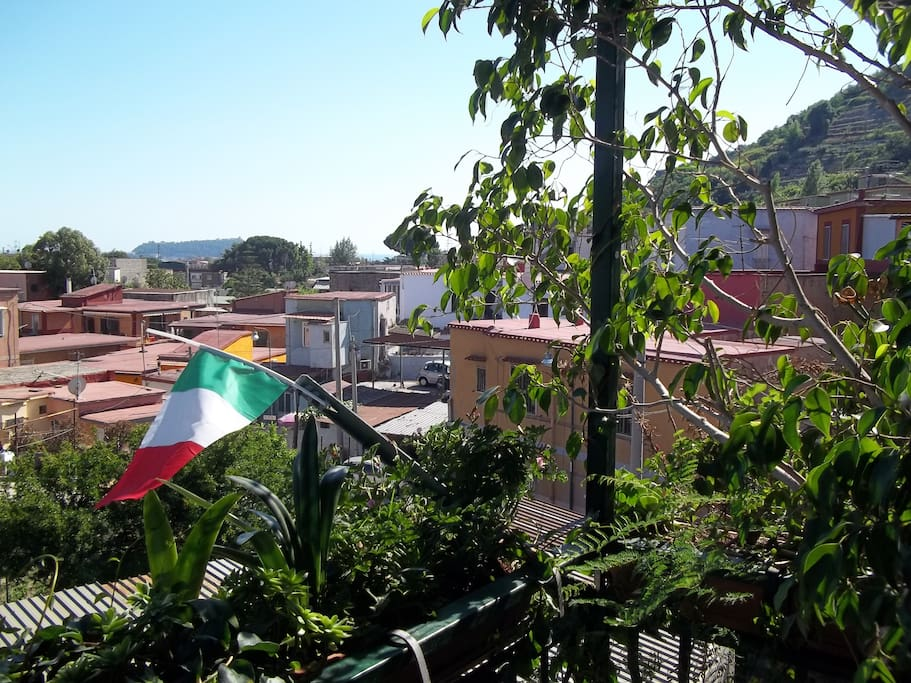 the view from the balcony and my italian flag!