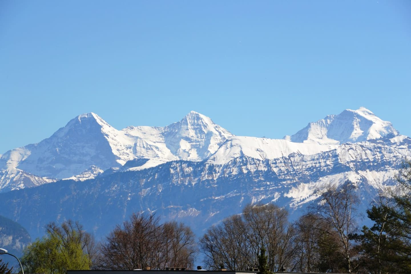 This is the view out of the rooftop-window!! Eiger -- Monch -- Jungfrau and Schilthorn in winter.