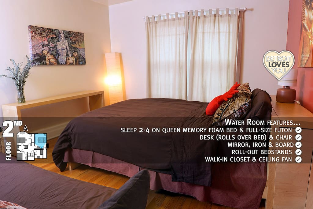 Air Room ~ 3rd floor ~ sleep 3-6 on 2 queen beds & twin/king daybed ~ hammock ~ most private room