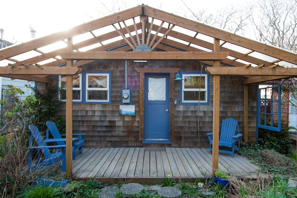 Covered Front Porch with Adirondack Seating