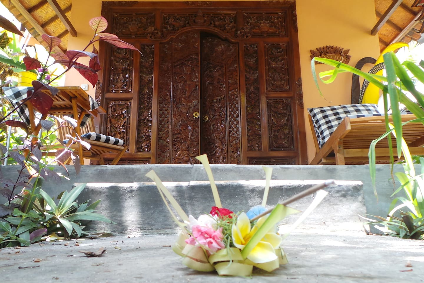 Buana Alit is blessed and protected every day with offerings.