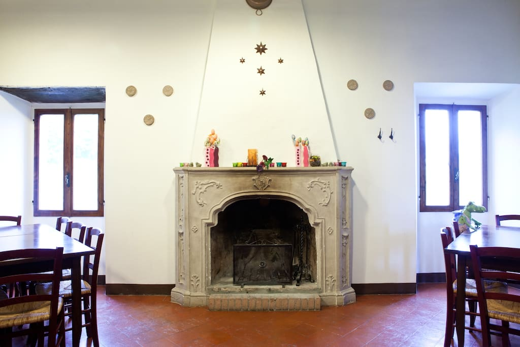 The chimney in the dining room