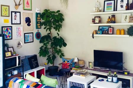 My Home studio is a very small space, 7by7 MT but very comfortable. Located at Sentra Point Block AA38 very close to MERR II. The style of the house is young, simple, modern and warm. First floor is living room, kitchen and bathroom, while on the second floor is bedroom.