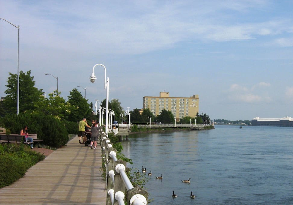Downtown boardwalk overlooking St. Mary's River