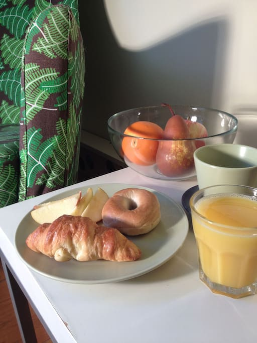 Tea, coffee, continental breakfast and fresh fruit.