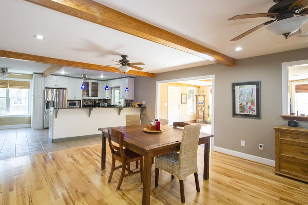 Open floorplan invites socializing and cooking.