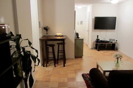 ladies or couples only.  shared apt.  I have a private bedroom and the room available is   Semi-Private(separated from the living room by a bookcase).  5th floor,  doorman, great location. large windows, full kitchen. Great local in SW Manhattan.