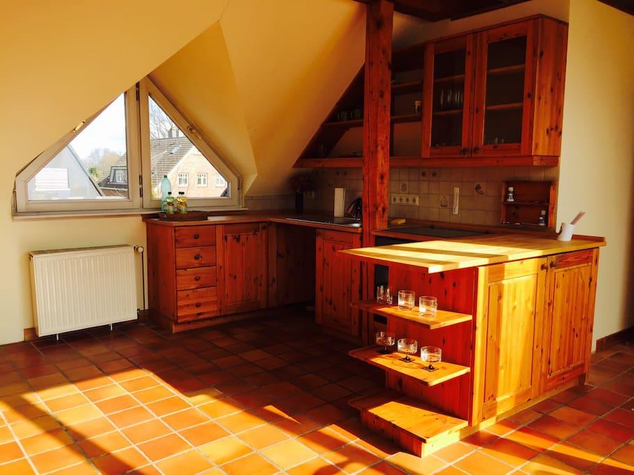 Private sun-flooded kitchen