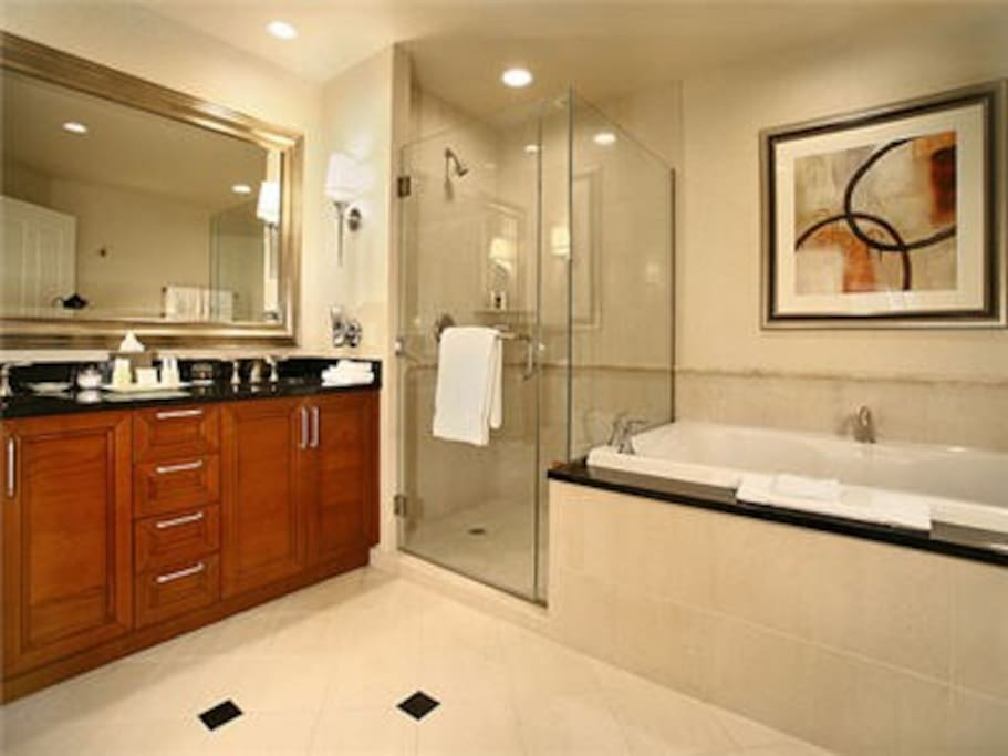 Luxurious Bathroom Featuring a Dual Sink Vanity & Large Jacuzzi Tub