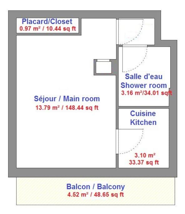 Plan du studio / Flat ground-plan.