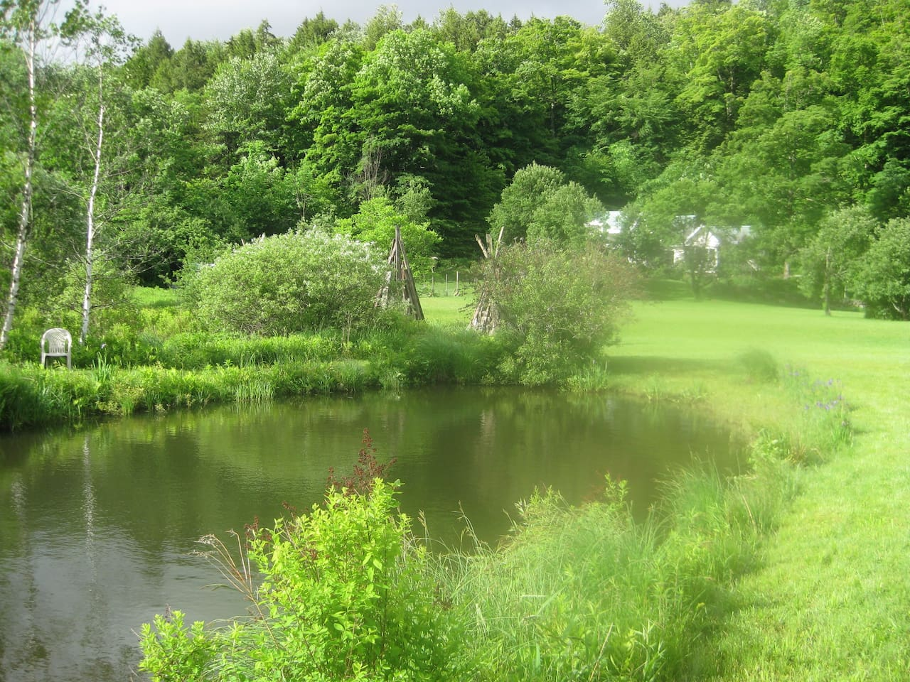 A view of Mountain Valley Retreat from our pond.