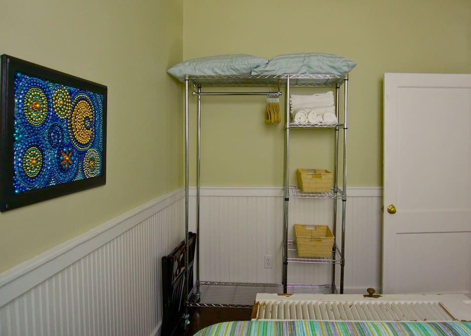 Bedroom hanging and linen rack
