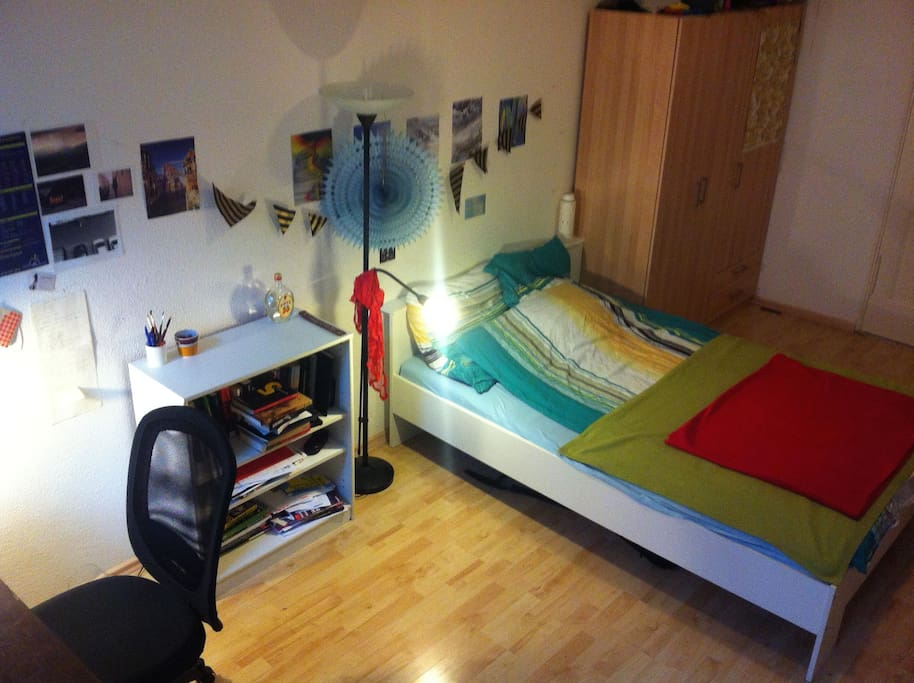 Double bed and bookshelf