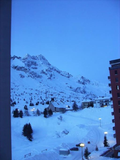 View from kitchen window at 7am in February, 14 below zero outside