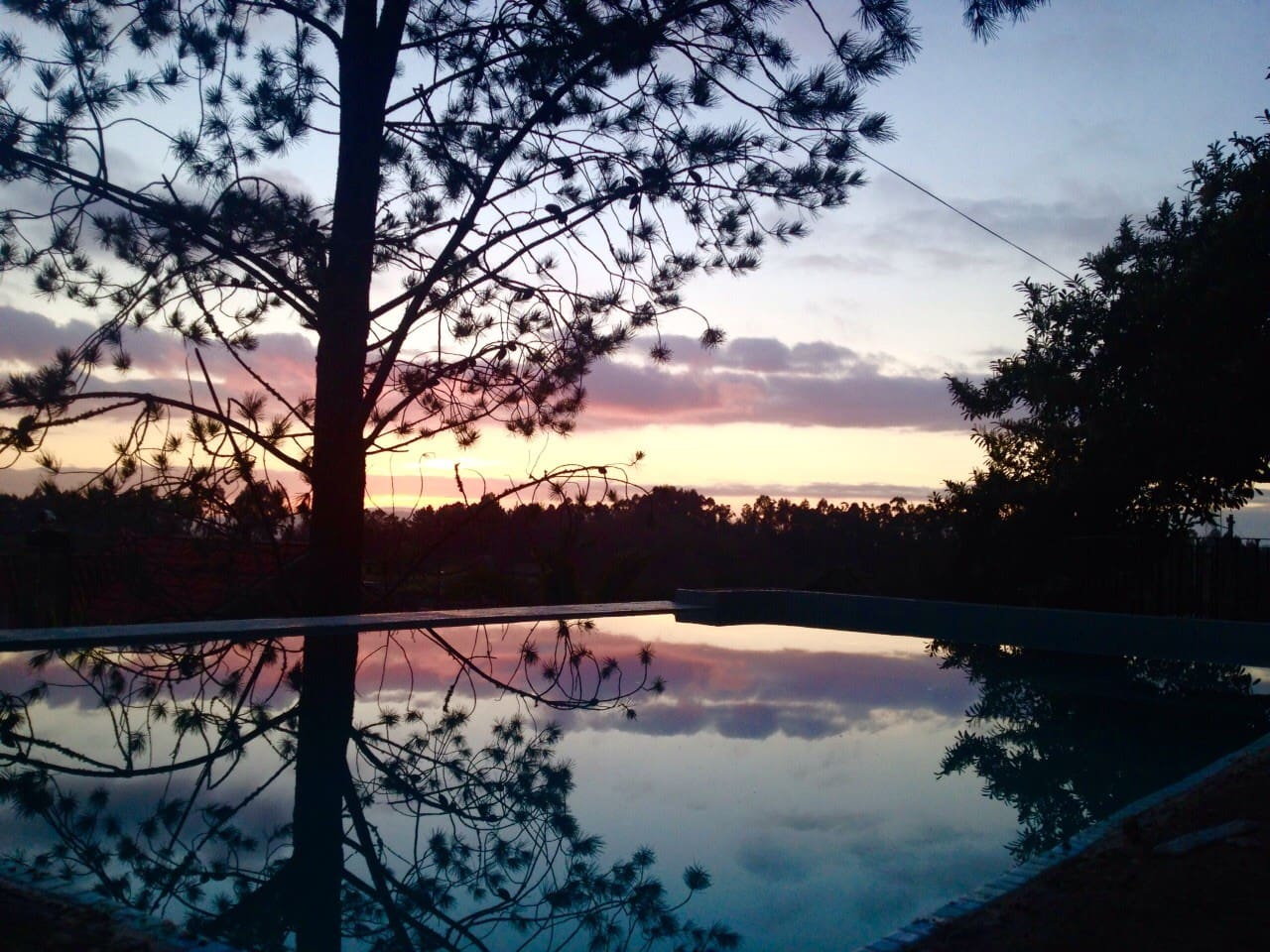 our pool during sunset