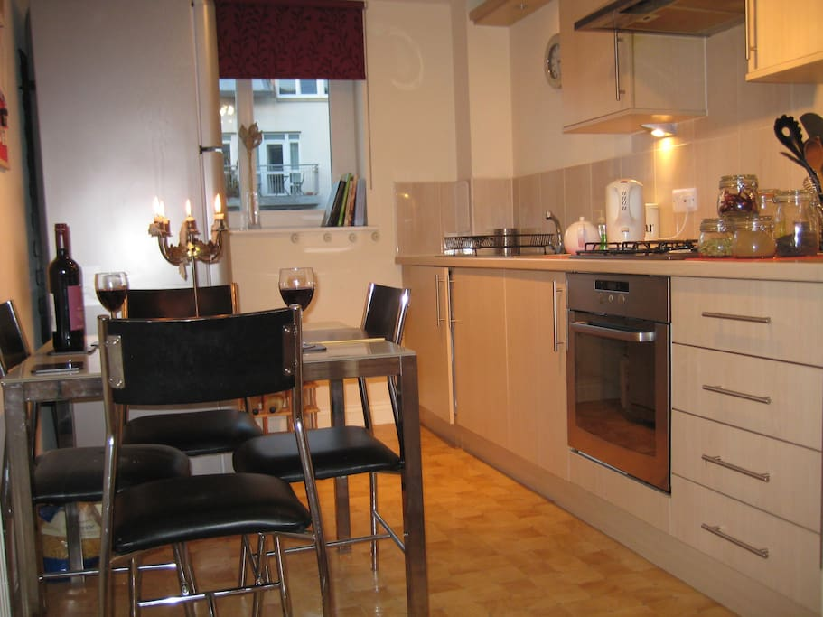 the kitchen with use of all utensils, crockery etc.......