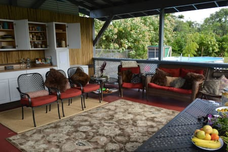 Ohana Belle cabin is available at a lower price without breakfast. Fun farm stay on Hawaii close to beaches, snorkeling, and higher on the mountain for cooler nights sleeping and fewer mosquitoes. Fruit infused water, coffee, and tea service included