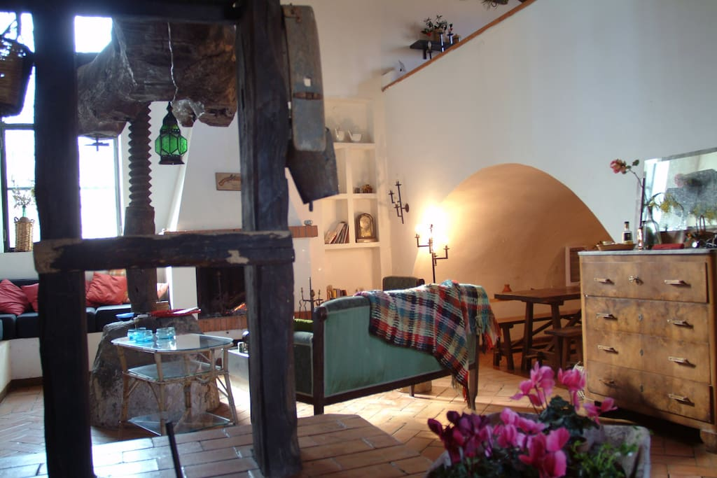 The living room and the old Winepress