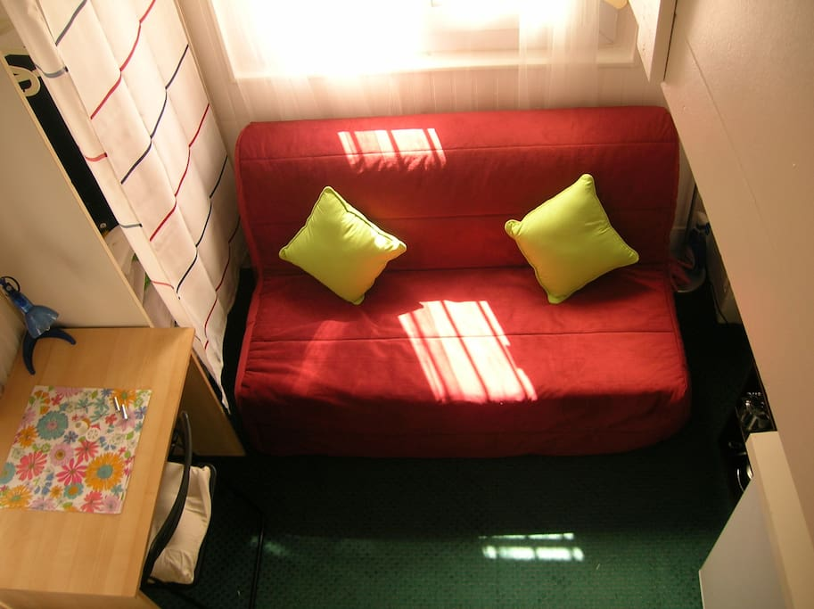 Sofa bed seen from the mezzanine