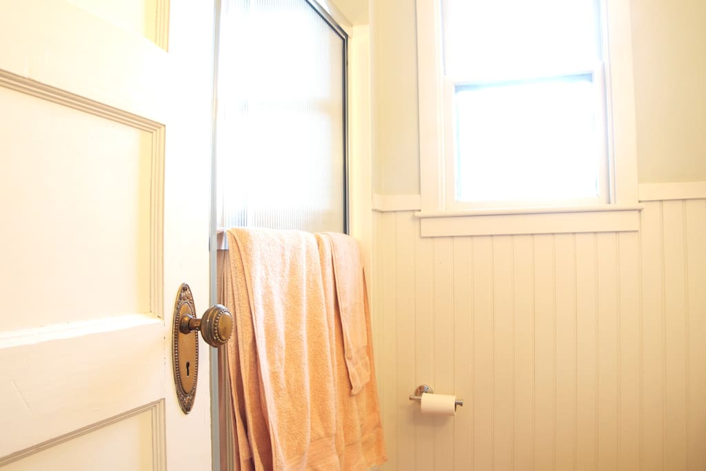 The guest bath is for your exclusive use.  It is a shower/tub combo.