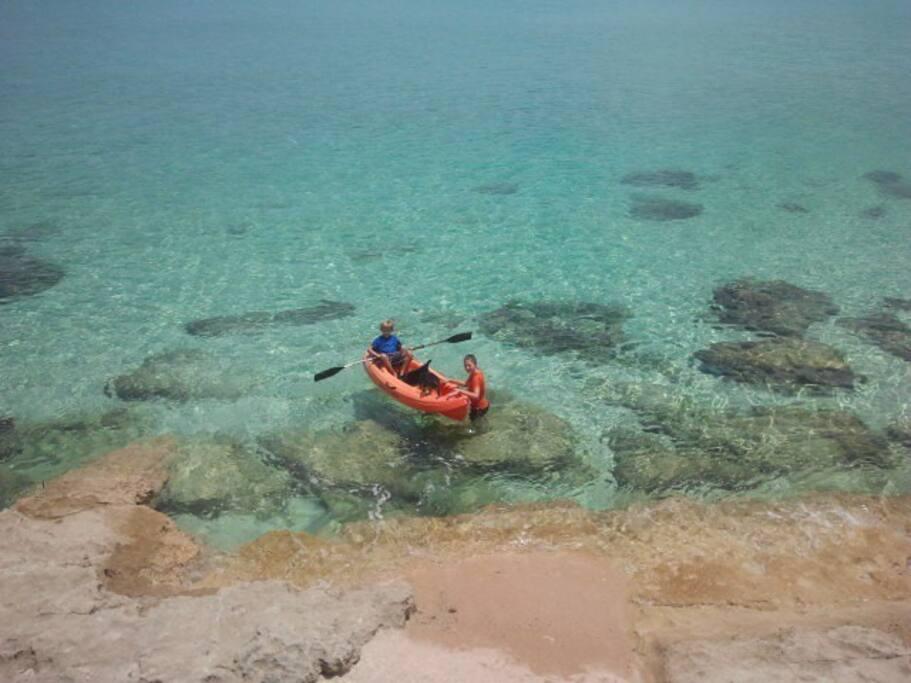 Private beach behind pool deck