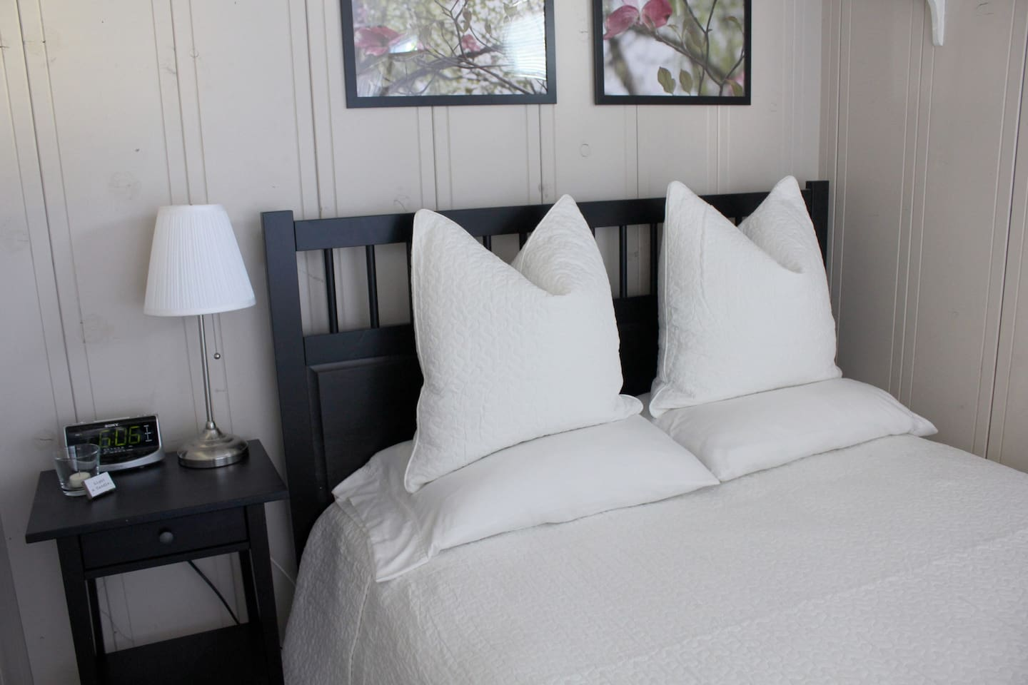 The Cottage | Snuggle up in the queen-size bed w/ fresh, quilted cotton linens.