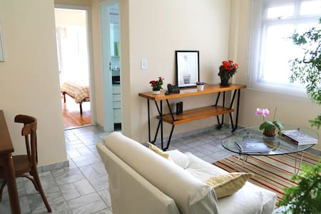 Apartment of 50 m2 well divided, comfortable and cozy. Kitchen equipped and complete laundry area. Many closets. Silent. The best part of Vila Madalena. Balcony in the room, sunny. 1 garage, doorman 24 hs, 10mins walk from the subway.Near everything.