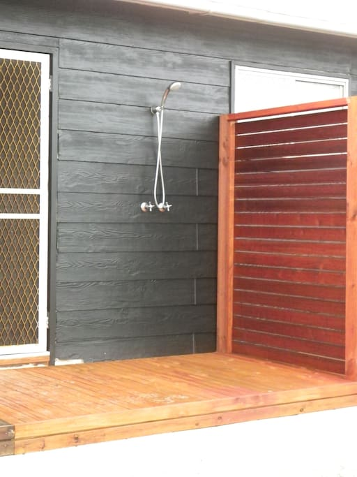 Outdoor hot and cold shower