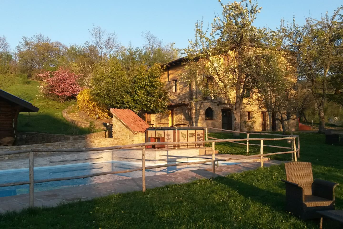the stone house and the pool