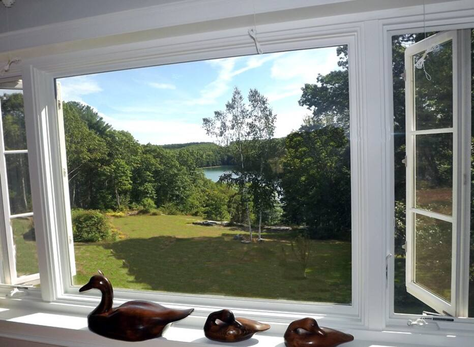 This picture window looks out to the Damariscotta River and is adorned by Ducks for which the house which affectionately named