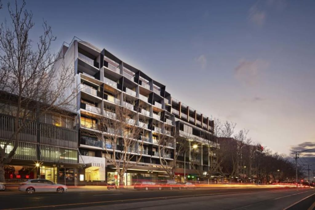 The beautiful HALO apartment building opposite Albert Park Lake and a short stroll to St Kilda Beach