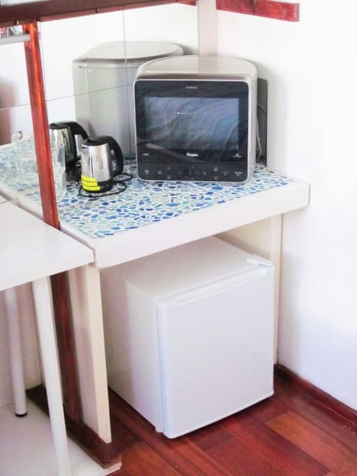 Table Fridge, Microwave, Kettle and Kitchenware
