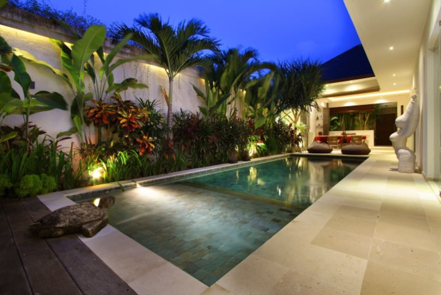 Pool view. Look at this beautiful tropical garden!