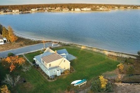 Fantastic Bay-front House in Hamptons with Private beach. Breathtaking view of sunrise! House/Bedrooms are furnished, Kitchen with appliances, Dinning for 7, Central AC/heat, Dryer and Washer, etc.   Sail boat and 3 Kayaks on premises for use!