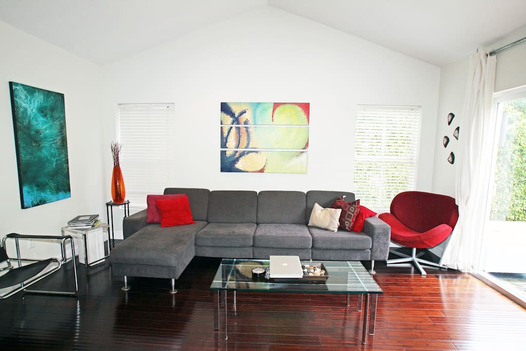 The vaulted ceiling tv room