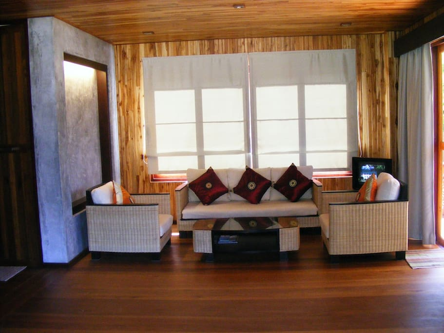 Contemporary Thai living area, internal made of teak wood, the most beautiful tropical wood.
