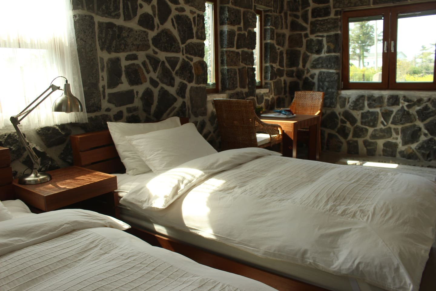 Inside view of standard room(super single-sized twin beds)
