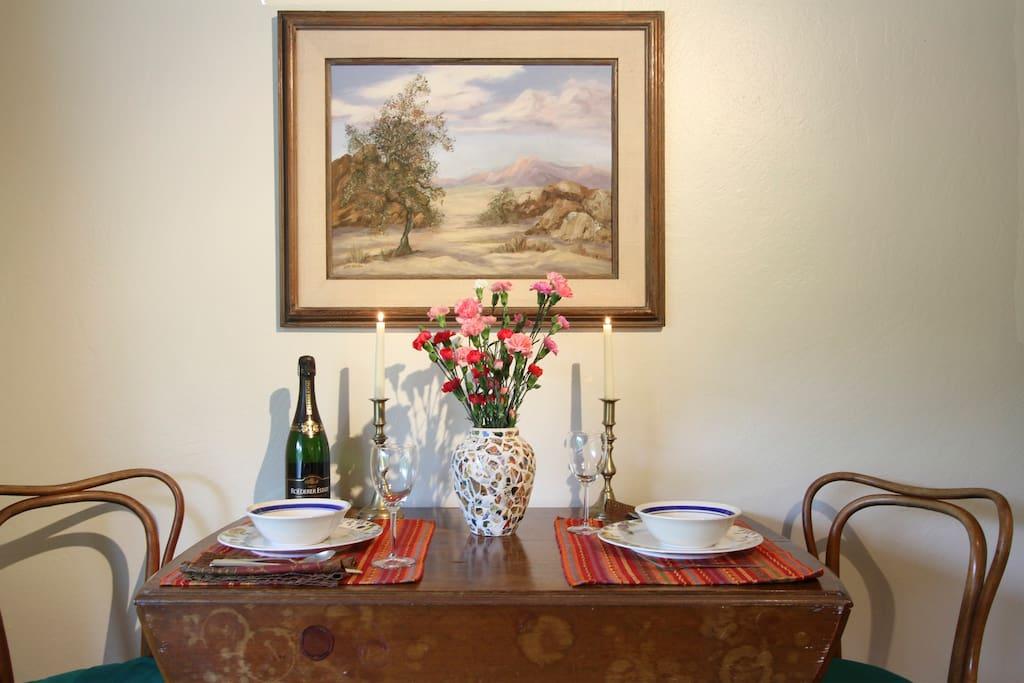 Romantic dinner spot for two
