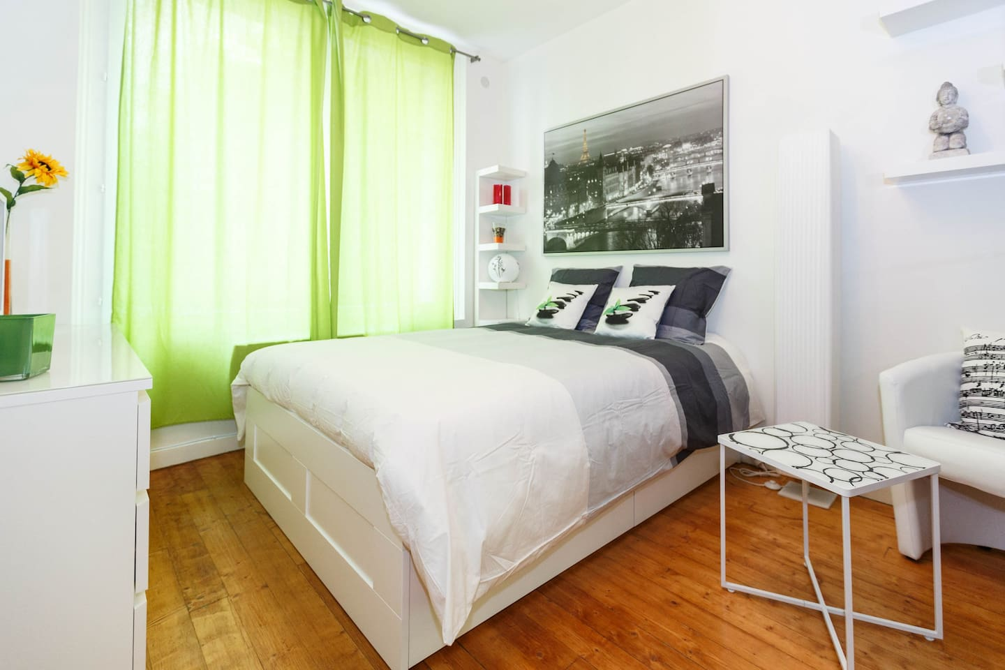 Bedroom with large bright window