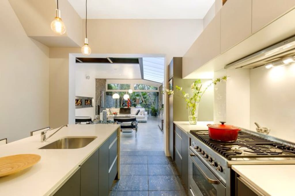 A very well stocked designer kitchen for those guests that love to cook and enjoy time together shared with fresh ingredients from locally sourced suppliers.