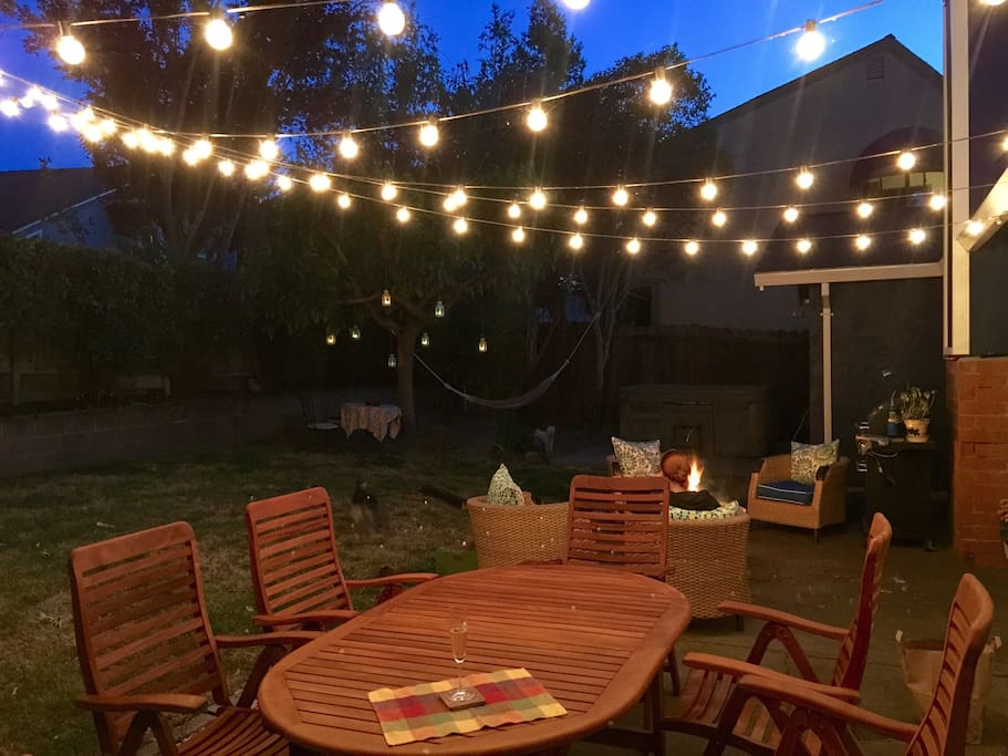 The backyard at twilight.