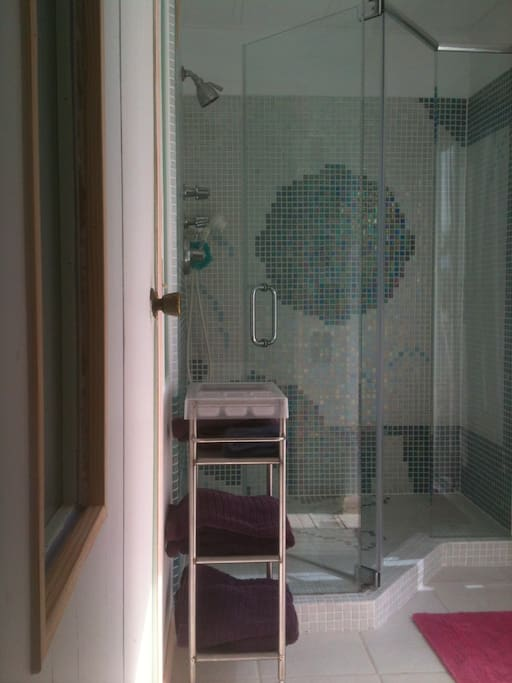 Manatee Q haven walk in 3 x 5 ft glass tile shower, handheld or overhead
